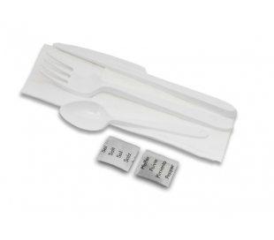 Bestikpose 3/1 serviet hvid, kniv, gaffel